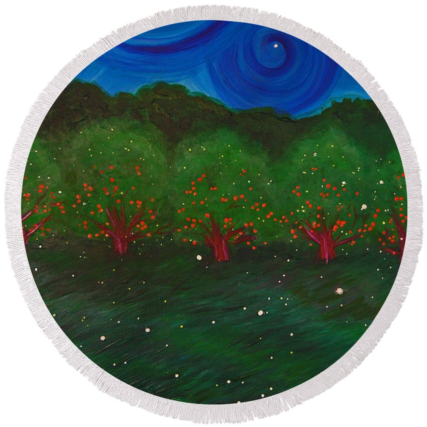 First Star Art Round Beach Towel featuring the painting Midsummer Night By Jrr by First Star Art