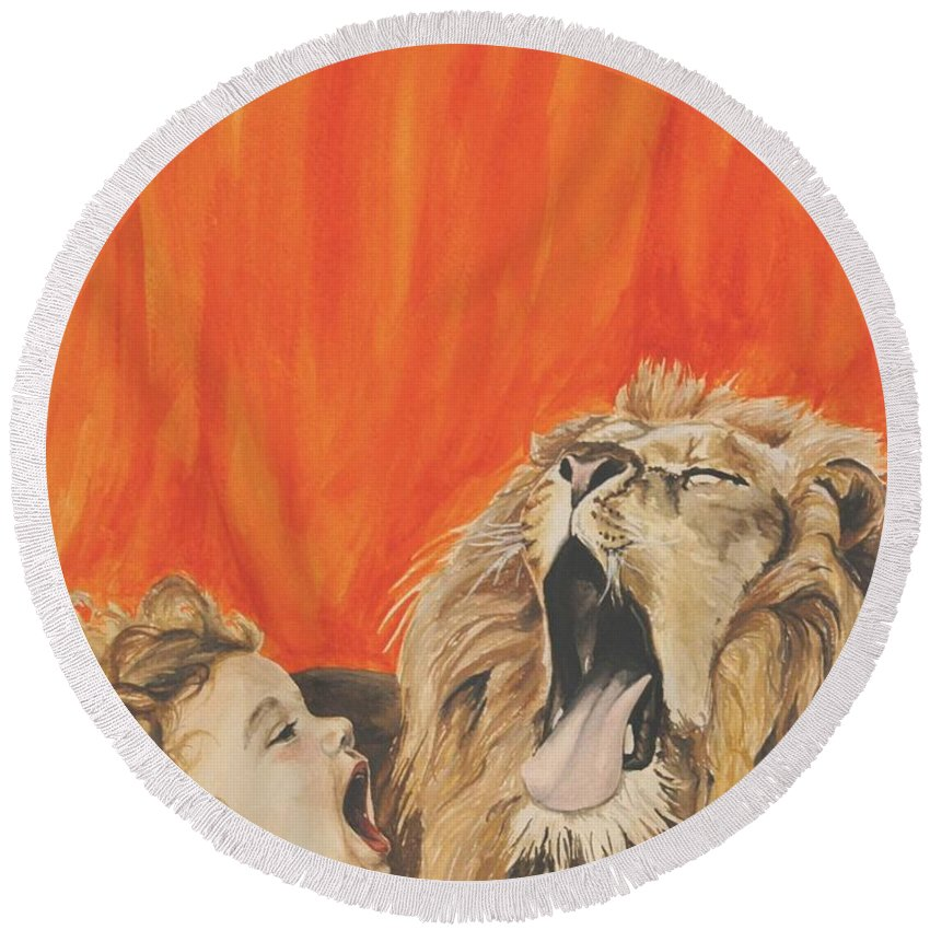 Lion Round Beach Towel featuring the painting Mika And Lion by Tamir Barkan
