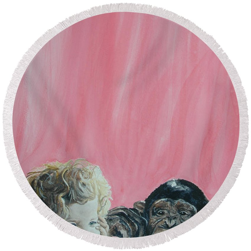 Monkey Round Beach Towel featuring the painting Mika And Monkey by Tamir Barkan