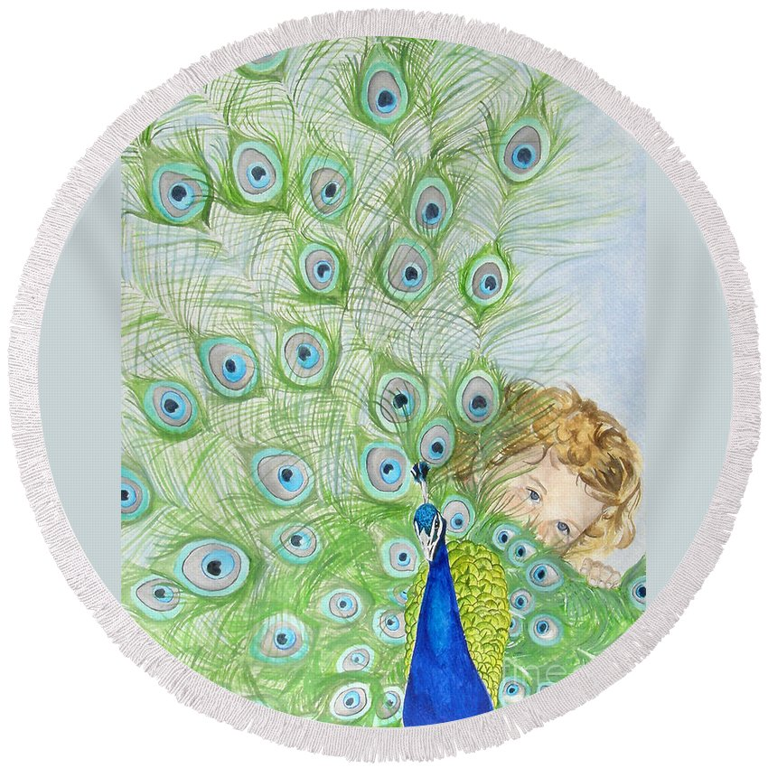 Peacock Round Beach Towel featuring the painting Mika And Peacock by Tamir Barkan