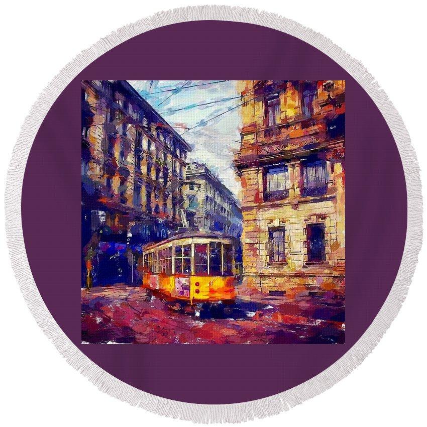 Milan Tram Round Beach Towel featuring the painting Milan Tram by Chris Butler