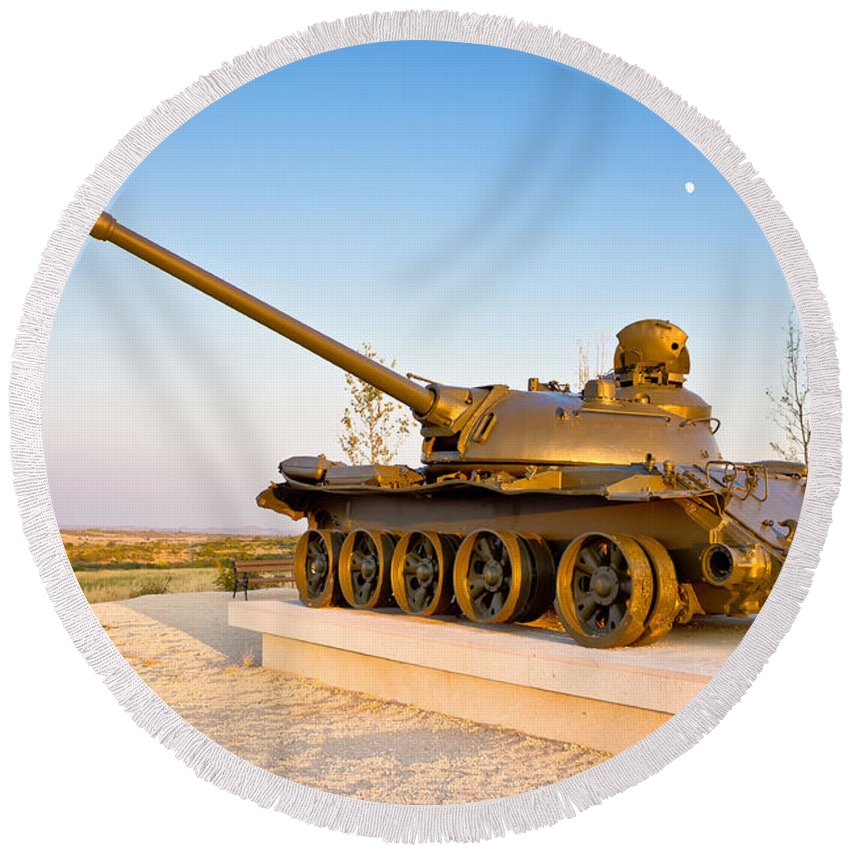 Tank Round Beach Towel featuring the photograph Military Tank Outdoor Installation View by Brch Photography
