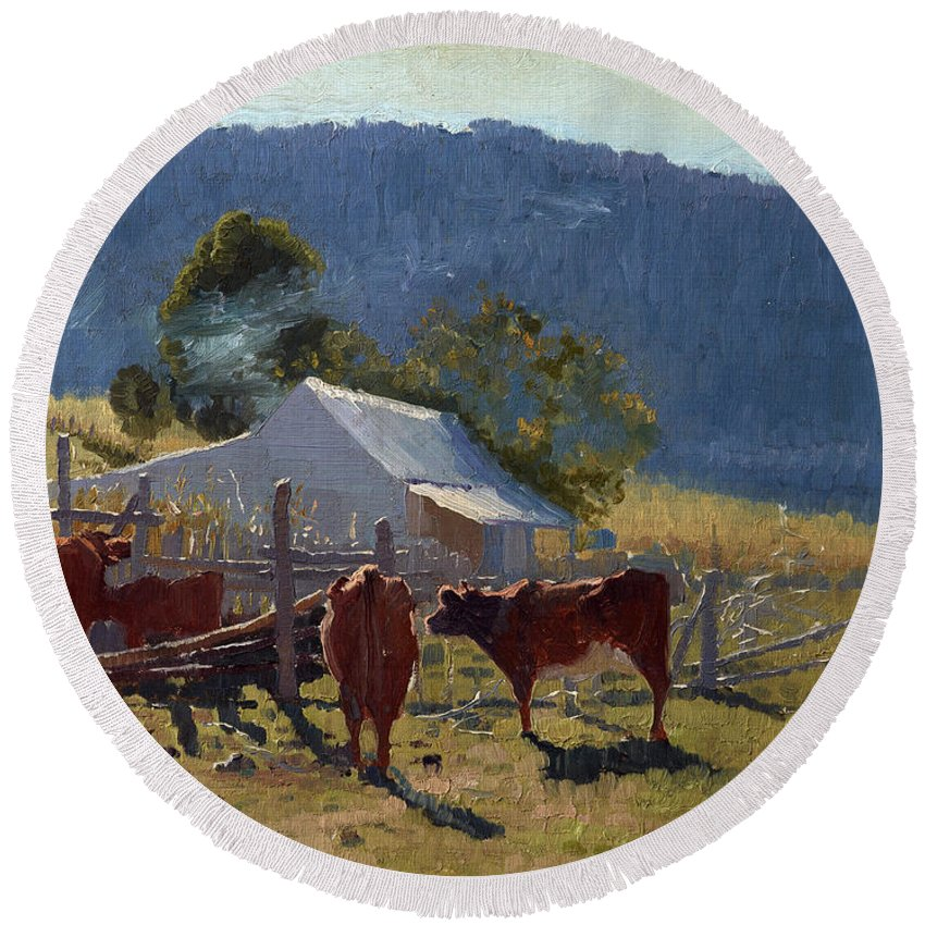 Elioth Gruner Round Beach Towel featuring the painting Milking Time. Araluen Valley by Elioth Gruner
