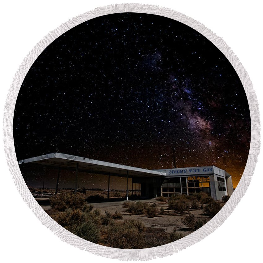 Gas Stations Round Beach Towel featuring the photograph Milky Way Gas by Peter Tellone