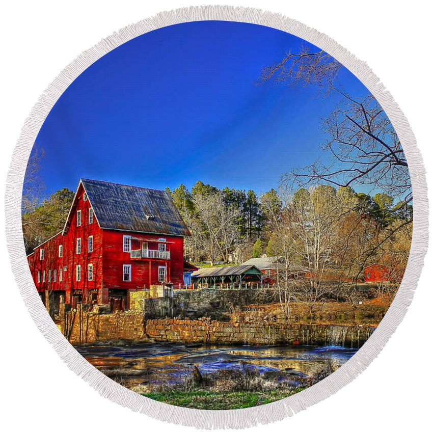 Reid Callaway Mill More Mill Round Beach Towel featuring the photograph Historic Millmore Mill Shoulder Bone Creek by Reid Callaway