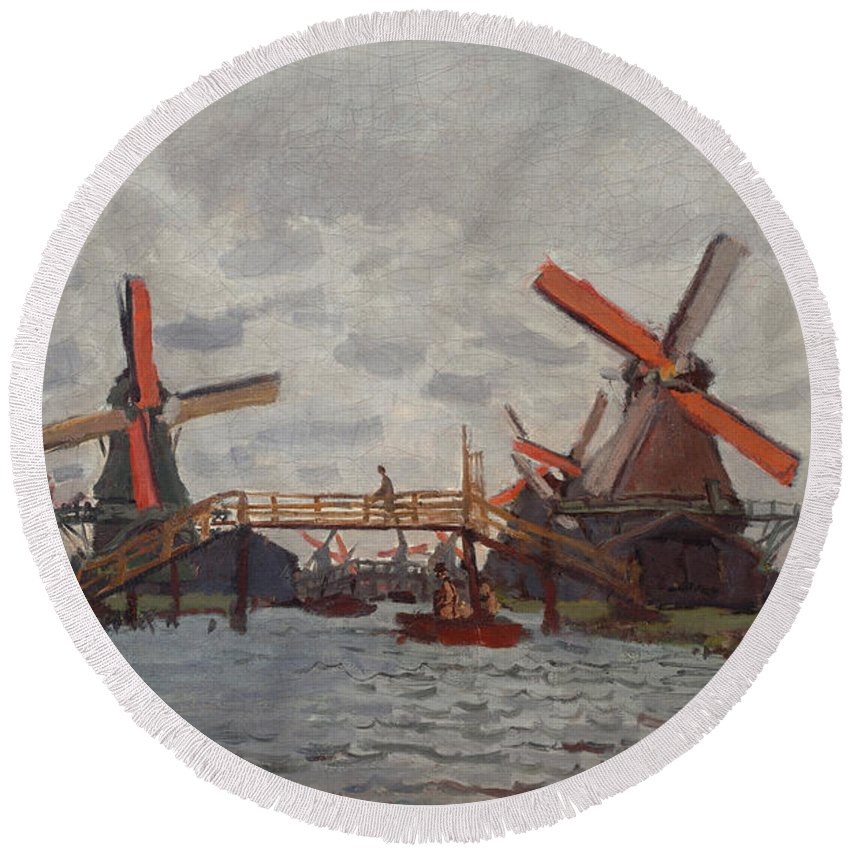 Claude Monet Round Beach Towel featuring the painting Mills At Westzijderveld by Claude Monet