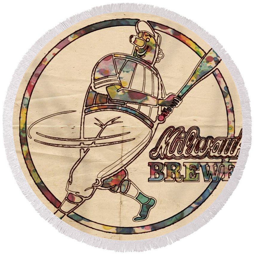 Milwaukee Brewers Round Beach Towel featuring the painting Milwaukee Brewers Vintage Art by Florian Rodarte