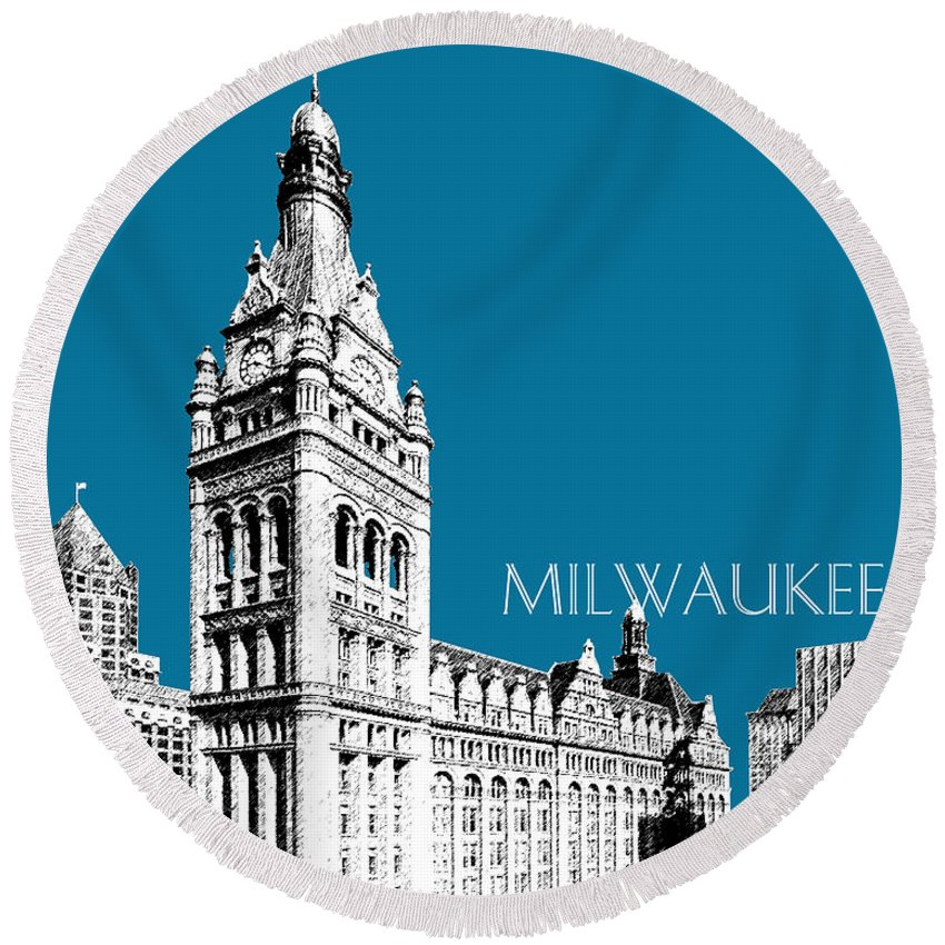 Architecture Round Beach Towel featuring the digital art Milwaukee Skyline City Hall - Steel by DB Artist