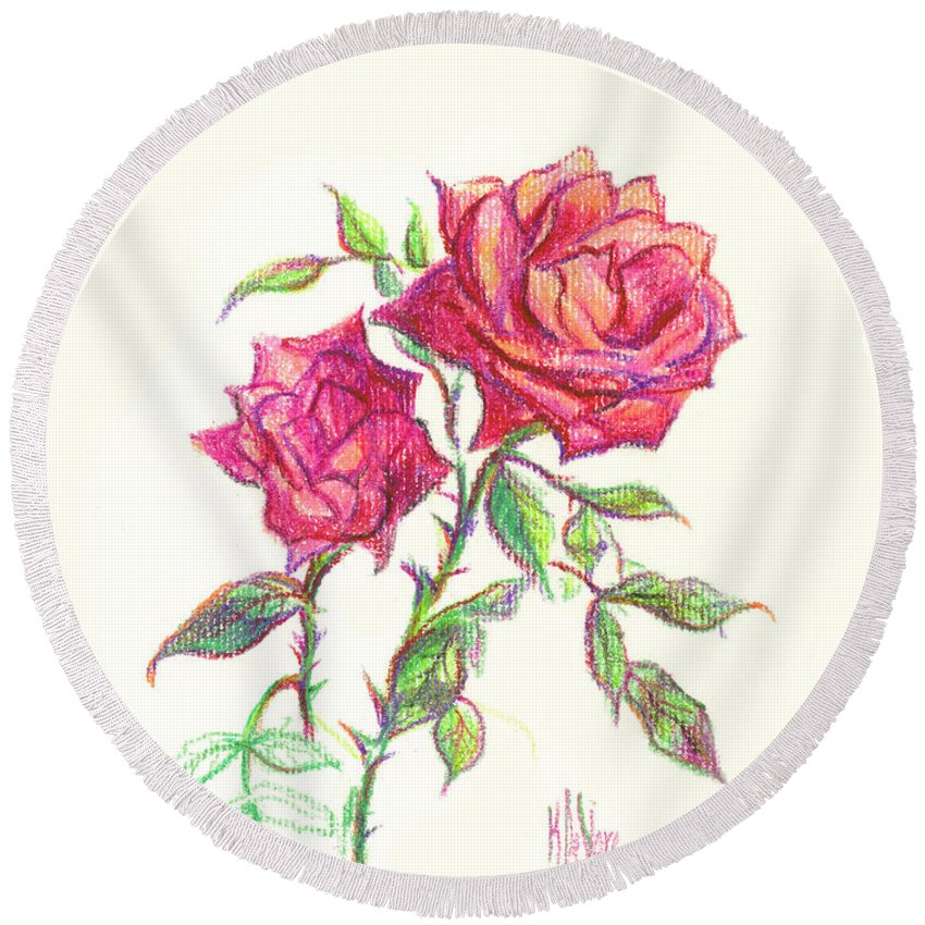 Nature Round Beach Towel featuring the painting Minature Red Rose by Kip DeVore