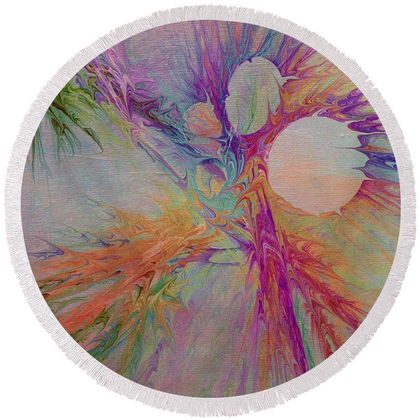 Abstract Round Beach Towel featuring the digital art Mind Energy Aura by Deborah Benoit