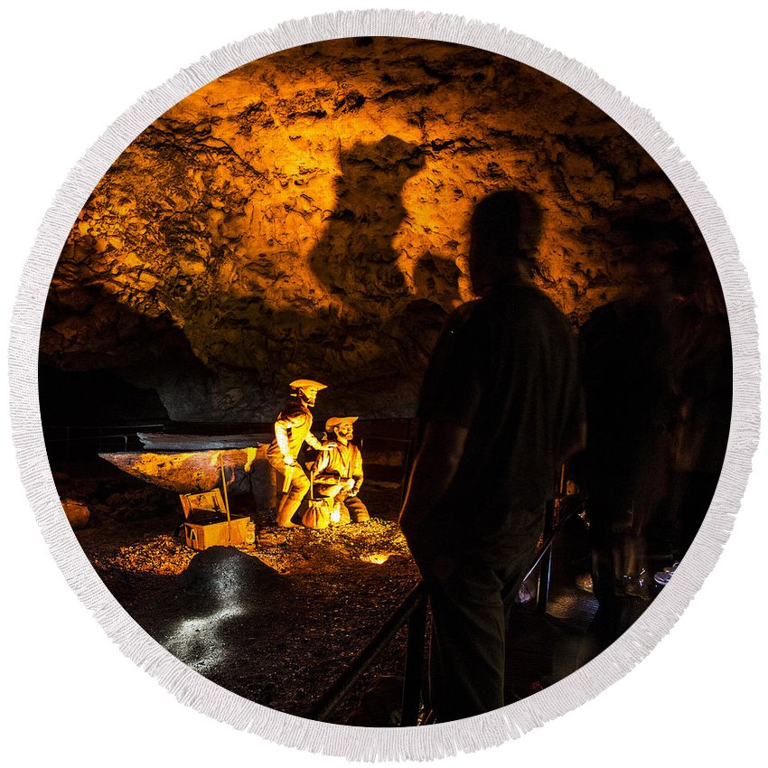 Meramec Caverns Round Beach Towel featuring the photograph Miners by Angus Hooper Iii
