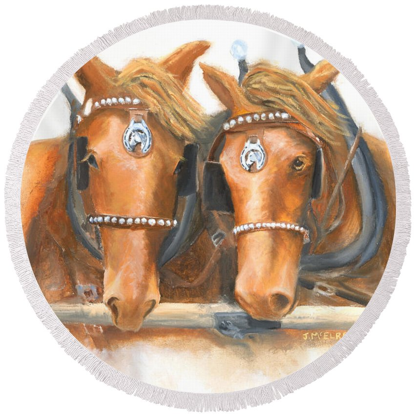 Horse Round Beach Towel featuring the painting Mini And Jake by Jerry McElroy
