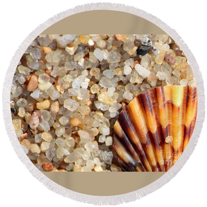 Shell Shells Vacation Vacations vacation At The Beach Beach Beaches Rocks Agates Small Tiny colors Of The Beach Sand Sandy Nature Natural natural Colors beach Cards beach Art Seaside Coastal Round Beach Towel featuring the photograph Mini Beach Vacation by Carol Groenen