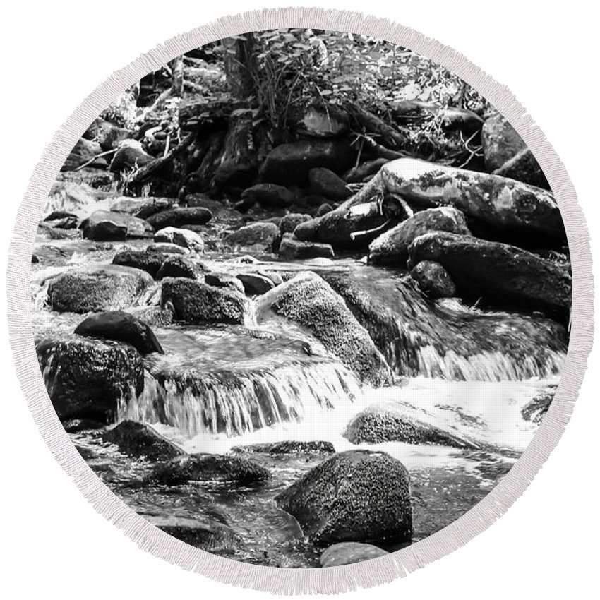 Mini Cascades Round Beach Towel featuring the photograph Mini Cascades Smoky Mountains Bw by Cynthia Woods