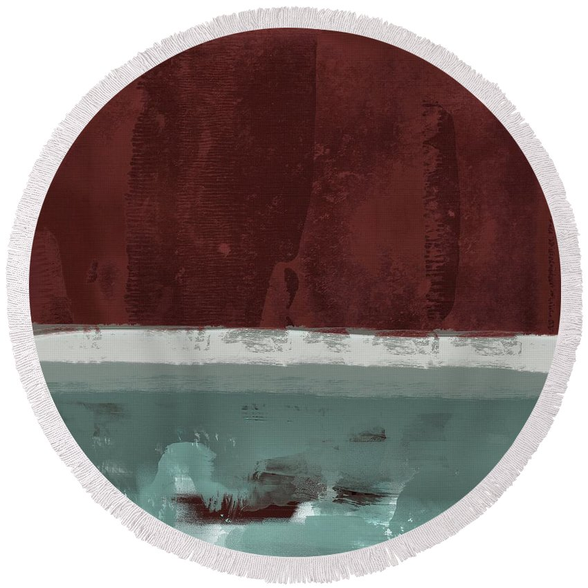 Red Round Beach Towel featuring the painting Minima - Brg01dd by Variance Collections