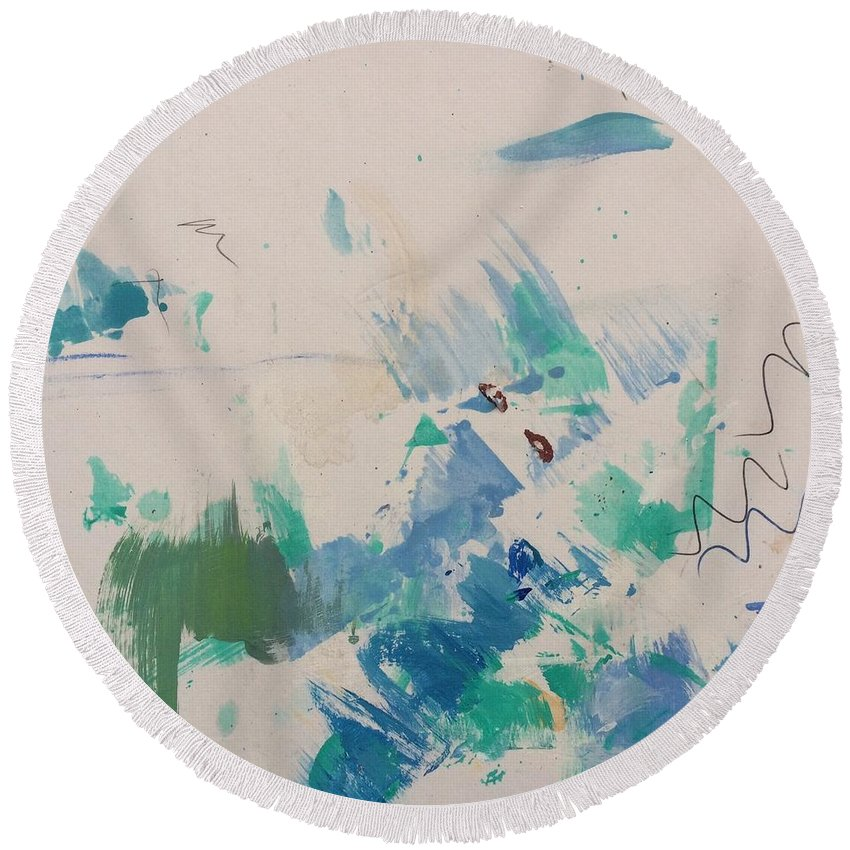 Acrylic Round Beach Towel featuring the painting Minimal Blue by Robin Maria Pedrero