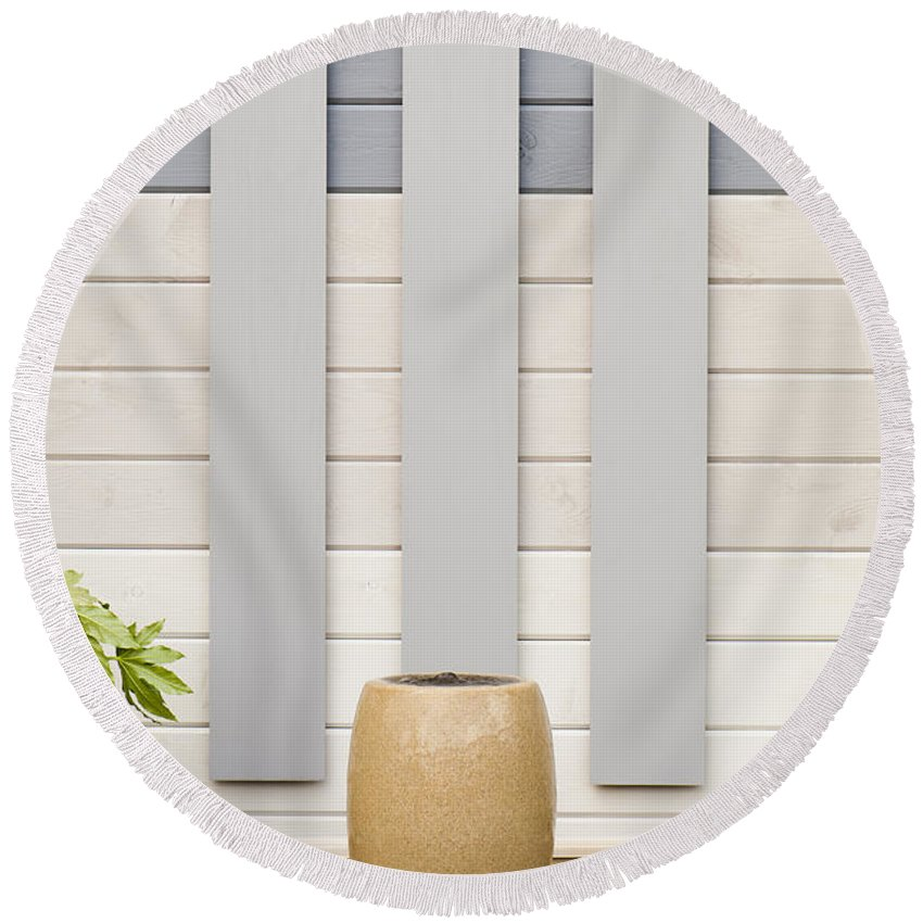 April Round Beach Towel featuring the photograph Minimal Gardening by Anne Gilbert