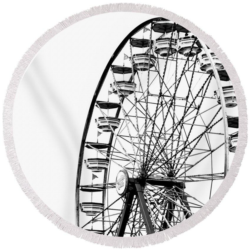 Wheel Round Beach Towel featuring the photograph Minimalist Ferris Wheel - Square by Jon Woodhams