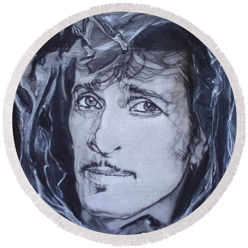 Charcoal;mink Deville;new York City;gina Lollabrigida Eyes ;cat Eyes;bullfight;toreador;swords;death;smoke;blues Round Beach Towel featuring the drawing Mink Deville - Coup De Grace by Sean Connolly
