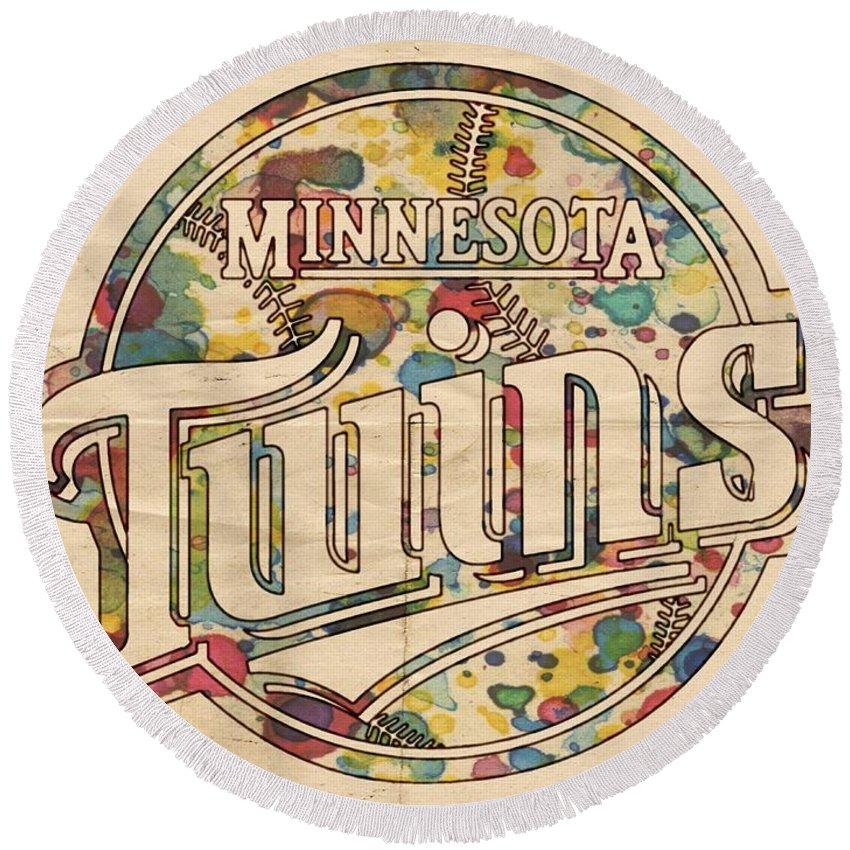 Minnesota Twins Round Beach Towel featuring the painting Minnesota Twins Poster Vintage by Florian Rodarte