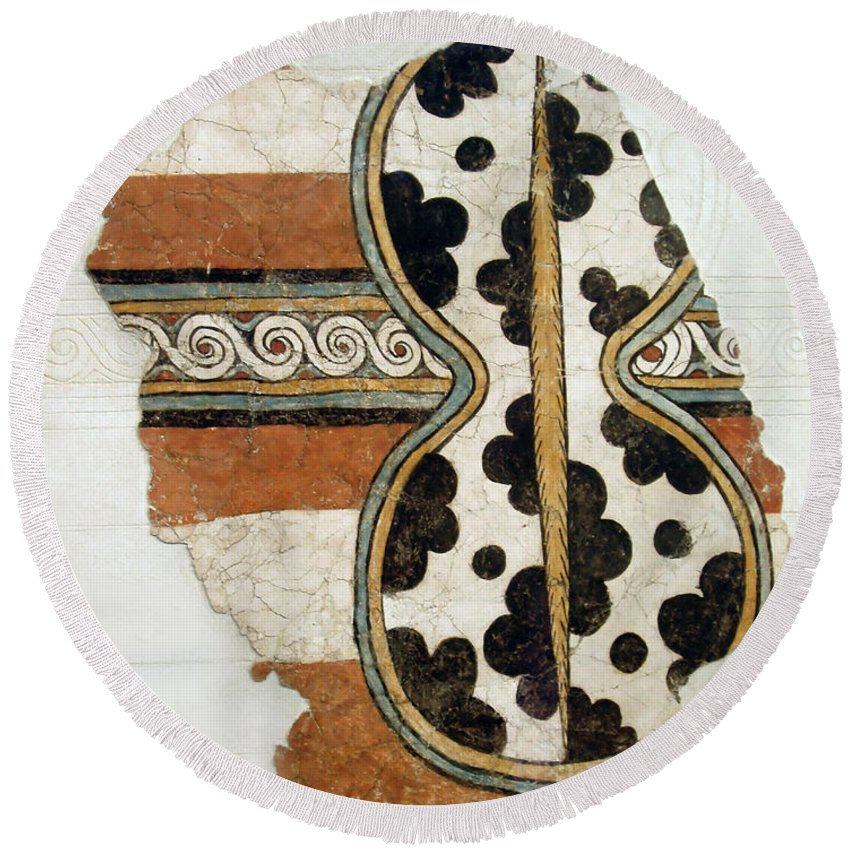 Minoan Livestock Painting Round Beach Towel featuring the photograph Minoan Livestock Painting by Ellen Henneke