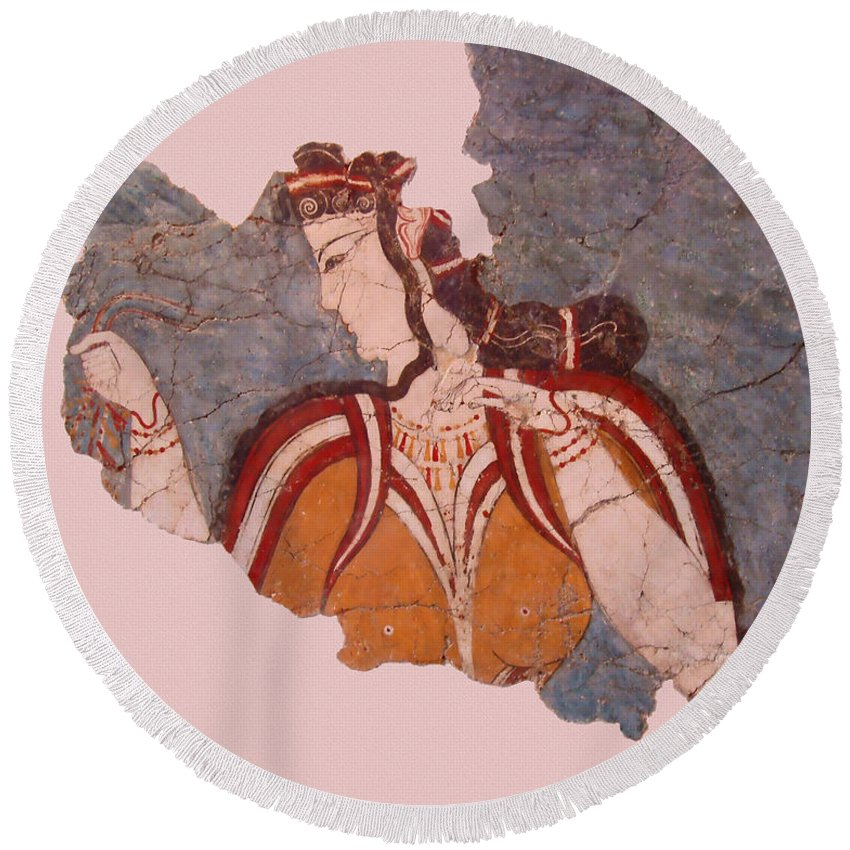 Minoan Wall Painting Round Beach Towel featuring the photograph Minoan Wall Painting by Ellen Henneke