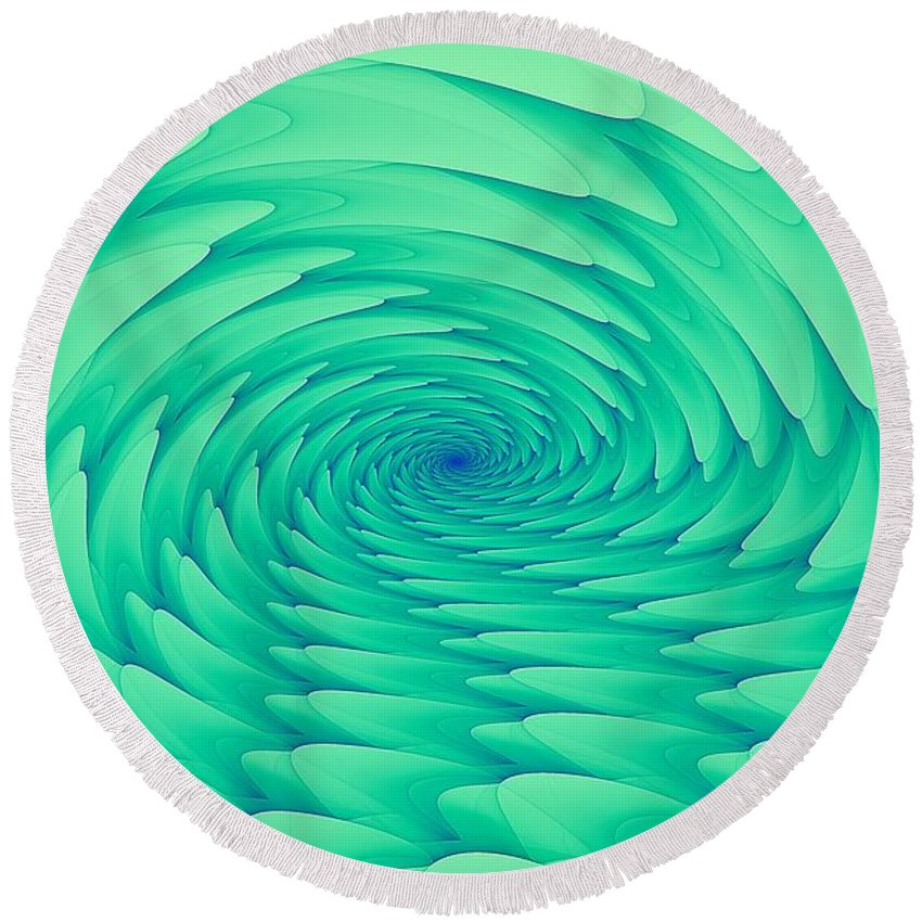 Mint Round Beach Towel featuring the digital art Mint Cave by Doug Morgan