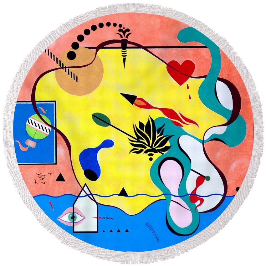 Bright Colors Round Beach Towel featuring the painting Miro Miro On The Wall by Thomas Gronowski