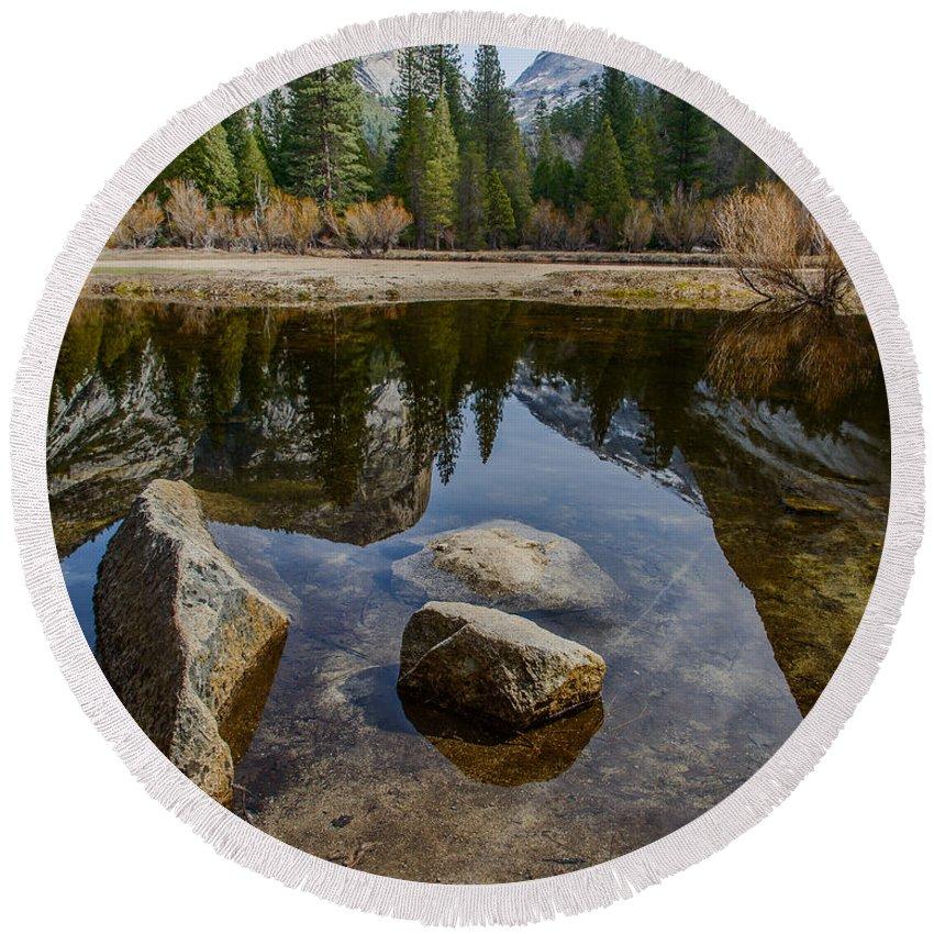 Yosemite Round Beach Towel featuring the photograph Mirror Lake Threesome Yosemite by Terry Garvin