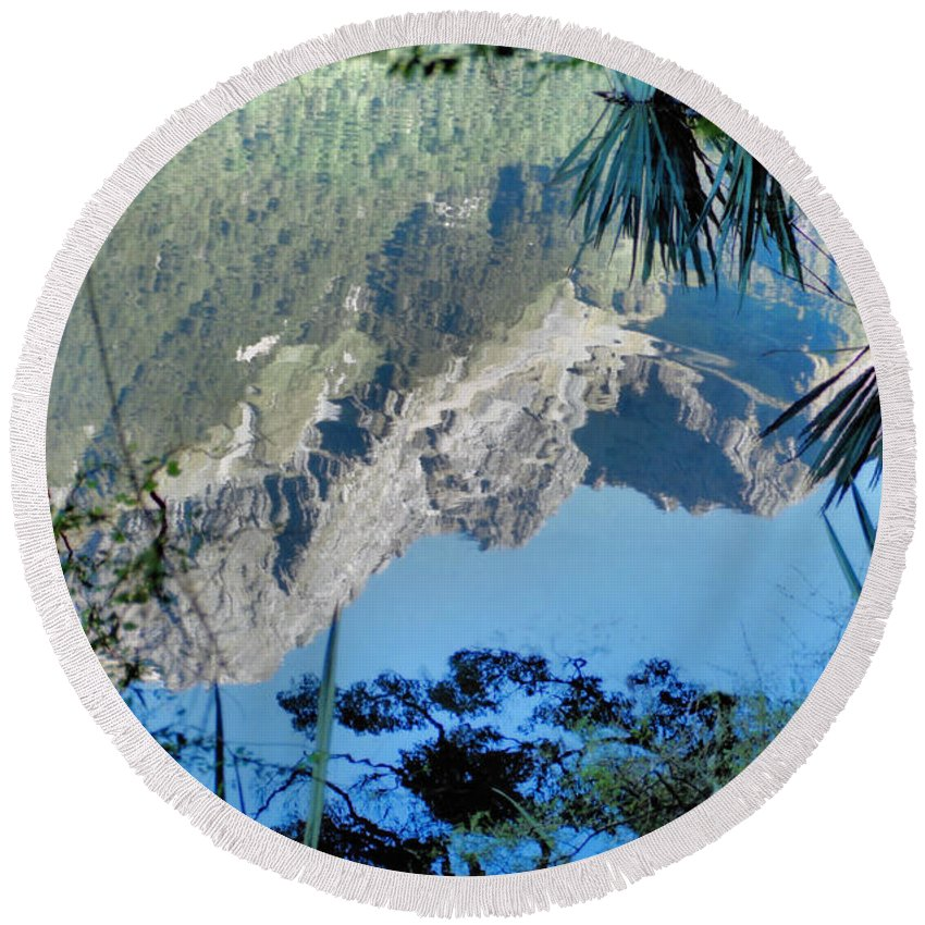 South Island Round Beach Towel featuring the photograph Mirror Lake Two New Zealand by Carole-Anne Fooks
