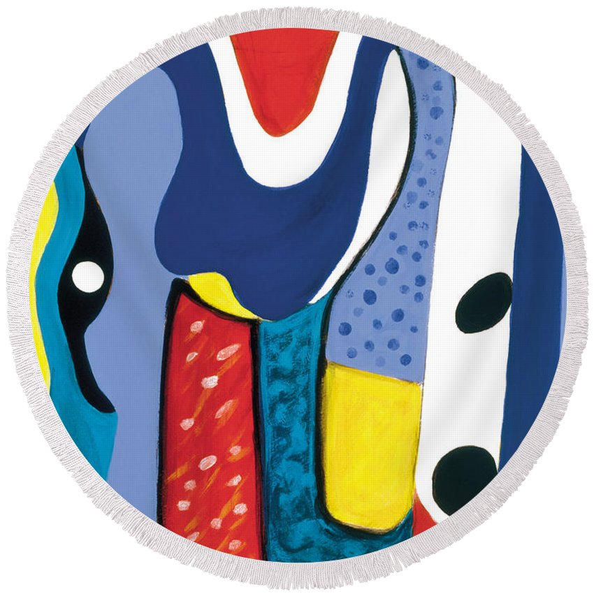 Abstract Art Round Beach Towel featuring the painting Mirror Of Me 1 by Stephen Lucas