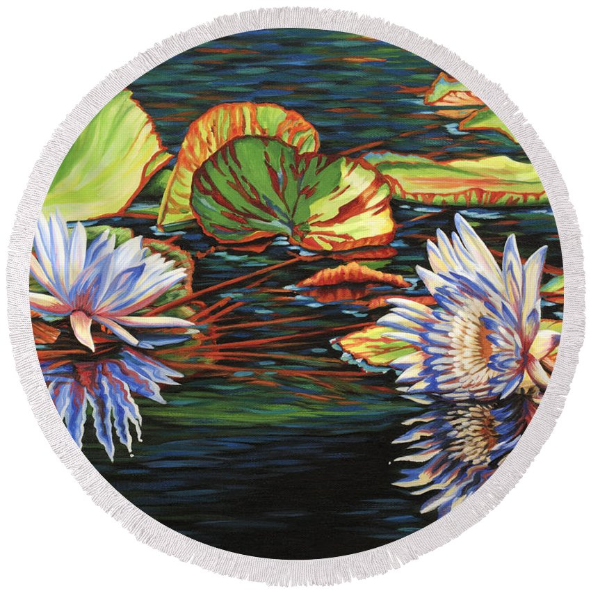 Lily Lilies Water Pond Pad Flower Flowers Floral Lake Round Beach Towel featuring the painting Mirrored Lilies by Jane Girardot