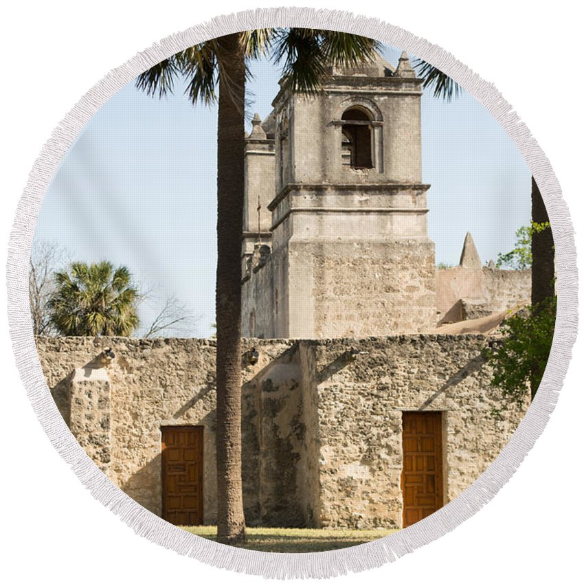Texas Round Beach Towel featuring the photograph Mission Concepcion In San Antonio by JG Thompson