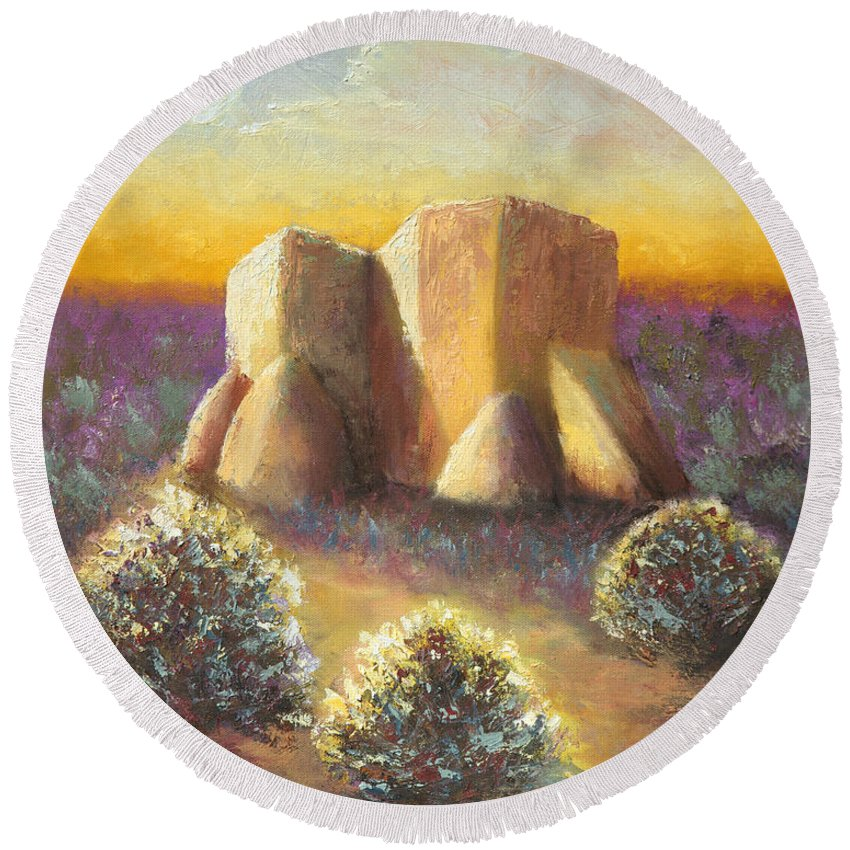 Landscape Round Beach Towel featuring the painting Mission Imagined by Jerry McElroy