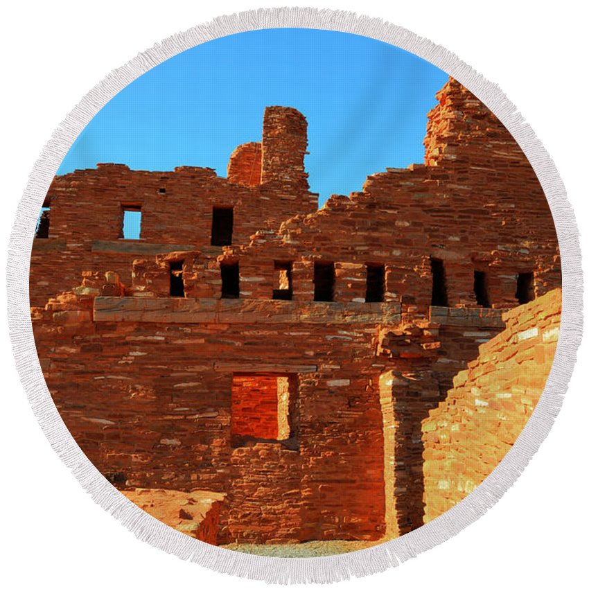 Salinas Pueblo Missions National Monument Round Beach Towel featuring the photograph Mission Ruins At Abo by Vivian Christopher