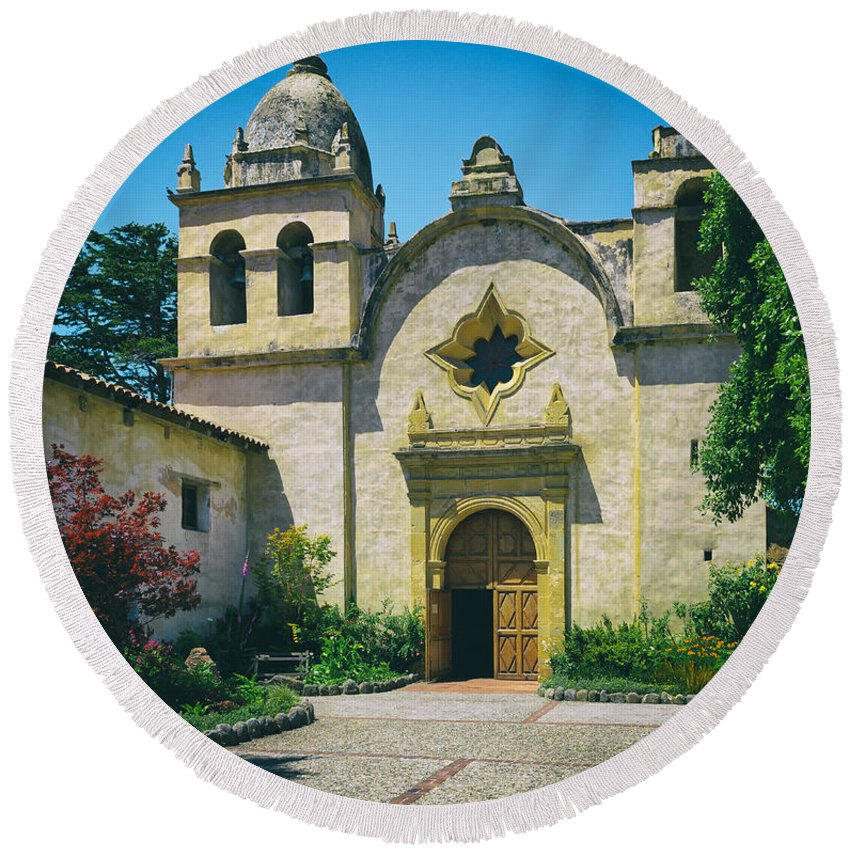Carmel Round Beach Towel featuring the photograph Mission San Carlos - Carmel California by Mountain Dreams