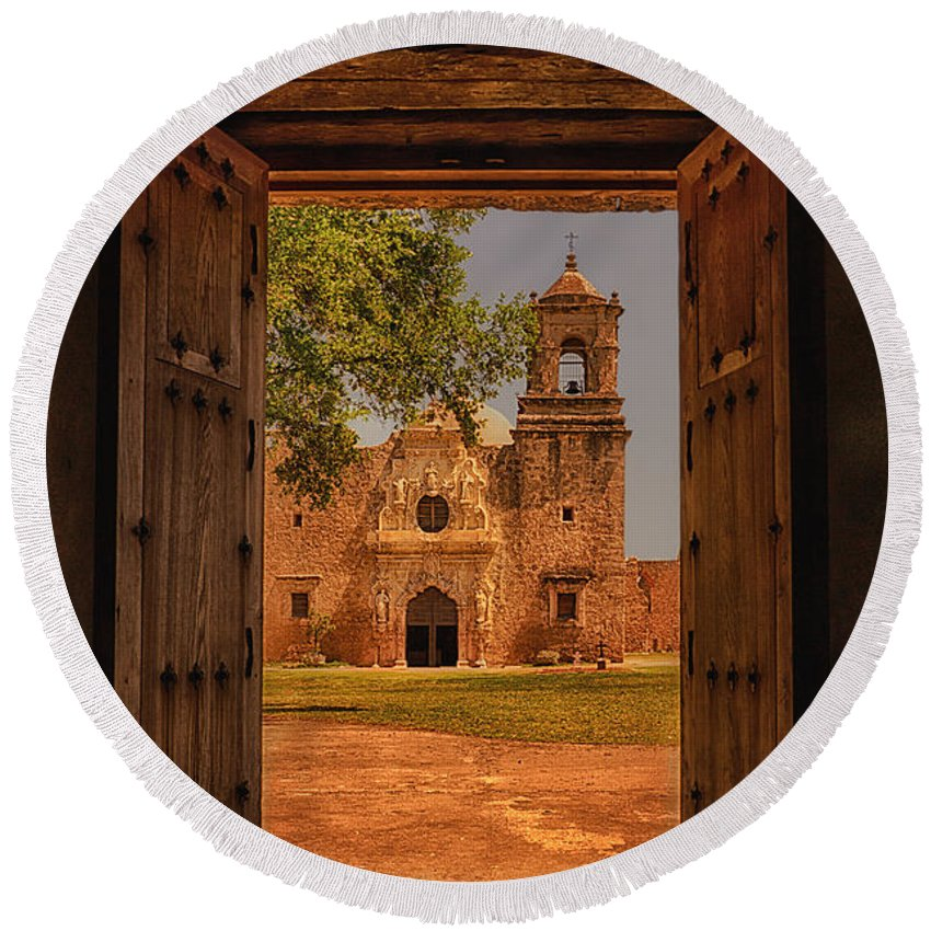 Mission San Jose Round Beach Towel featuring the photograph Mission San Jose by Priscilla Burgers