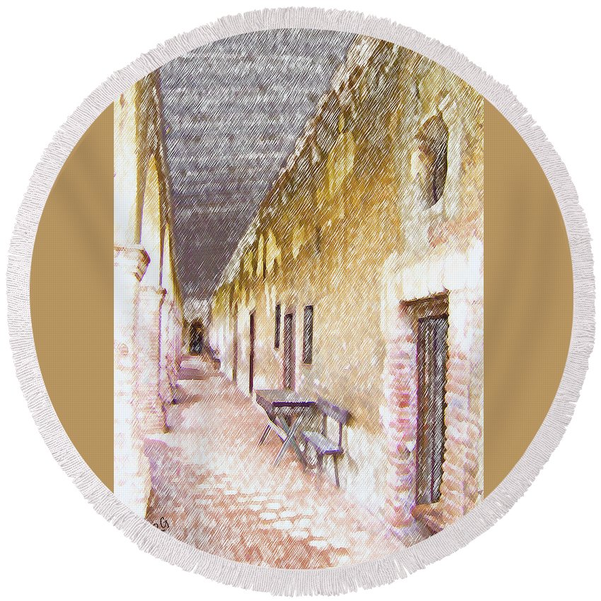 Pathway Round Beach Towel featuring the photograph Mission San Juan Capistrano No 5 by Ben and Raisa Gertsberg