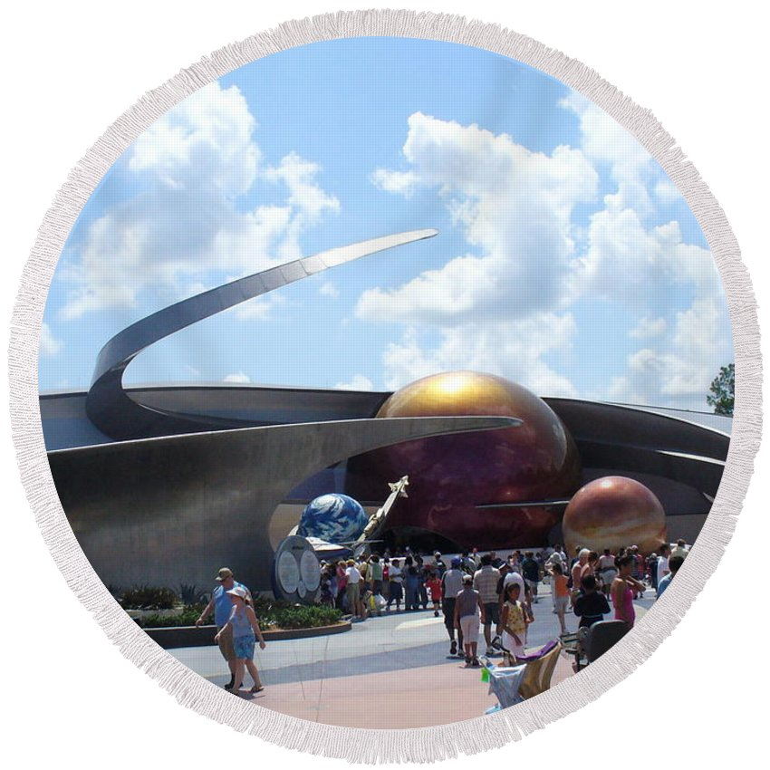 Epcot Centre Theme Park Round Beach Towel featuring the photograph Mission Space Pavilion by Lingfai Leung