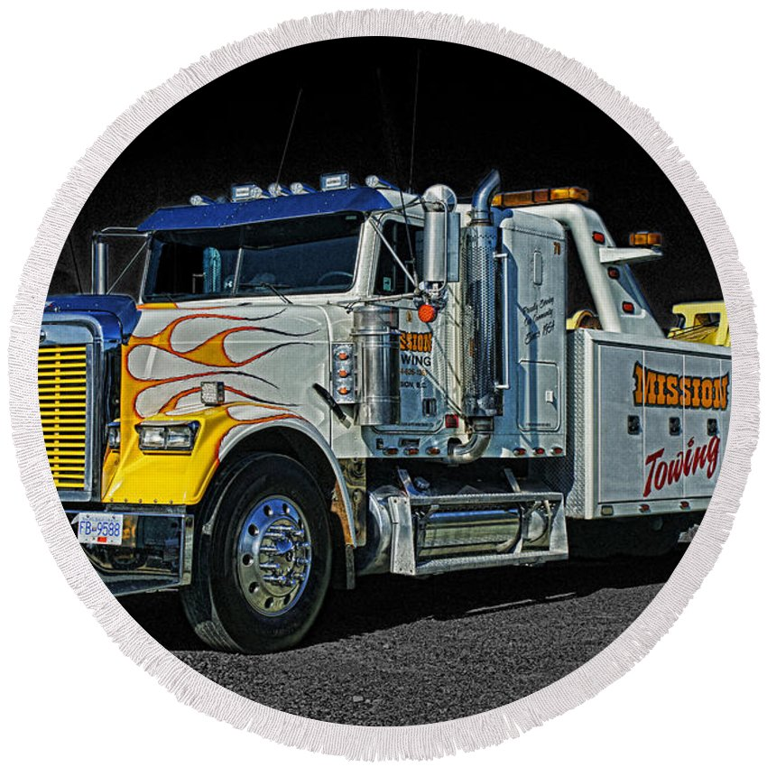 Trucks Round Beach Towel featuring the photograph Mission Towing Hdrcatr2999-13 by Randy Harris
