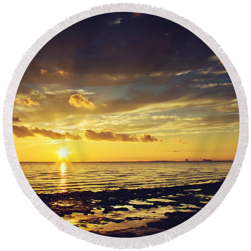 Sunset Round Beach Towel featuring the photograph Mississippi Gulf Coast Beauty by Joan McCool