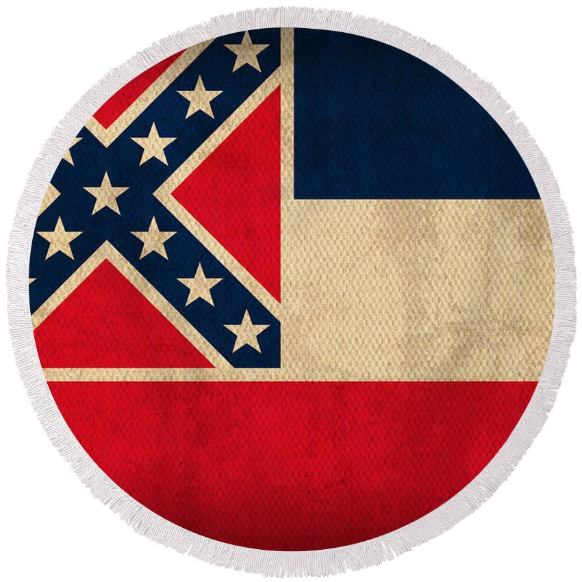 Mississippi State Flag Art On Worn Canvas Round Beach Towel featuring the mixed media Mississippi State Flag Art On Worn Canvas by Design Turnpike
