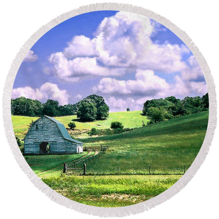 Landscape Round Beach Towel featuring the photograph Missouri River Valley by Steve Karol