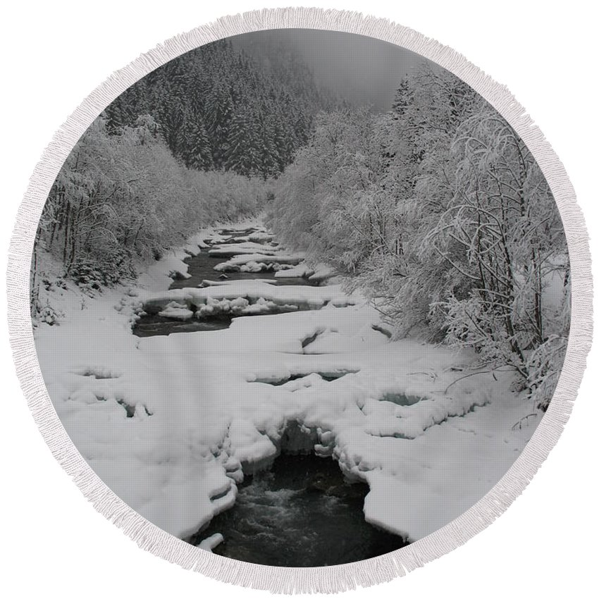Creek Round Beach Towel featuring the photograph Mist Above The Creek by Christiane Schulze Art And Photography