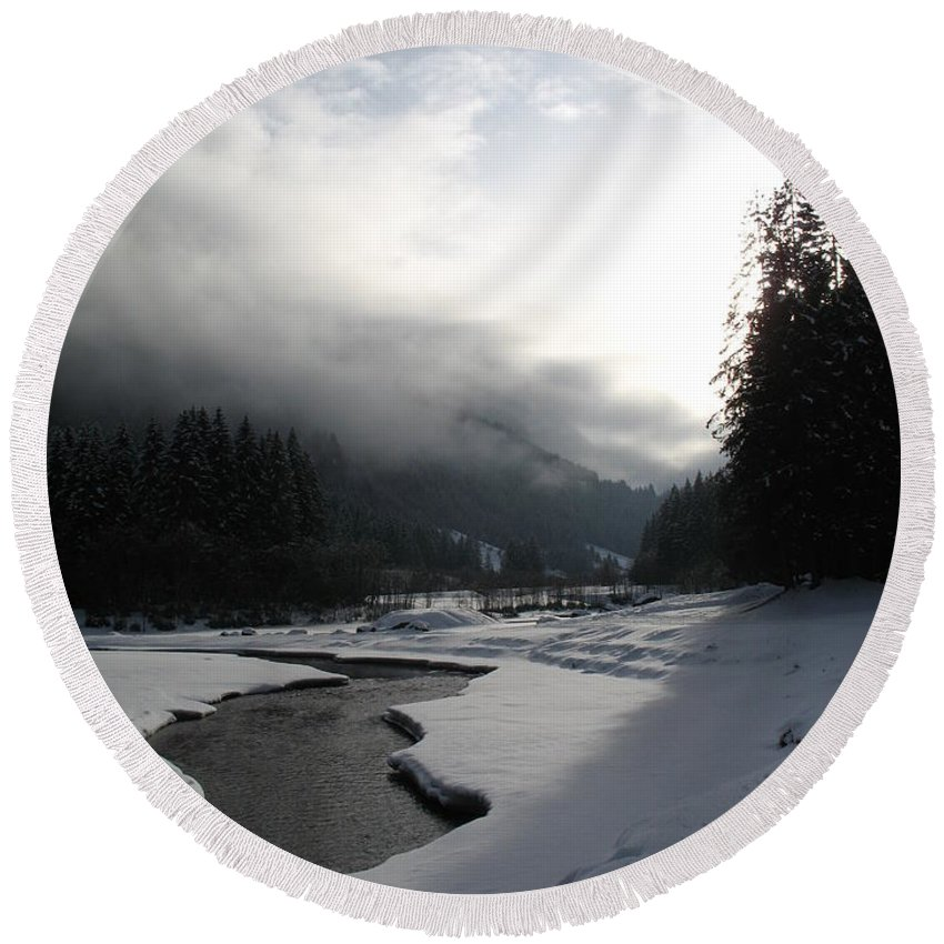 Valley Round Beach Towel featuring the photograph Mist Over A Snowy Valley by Christiane Schulze Art And Photography