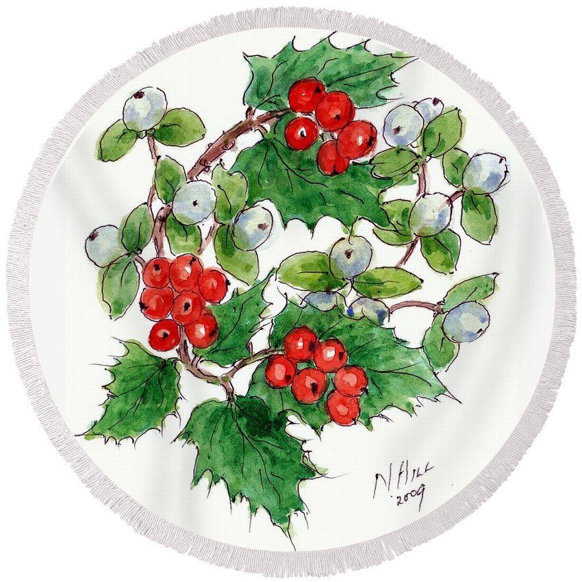 Berries Round Beach Towel featuring the painting Mistletoe And Holly Wreath by Nell Hill