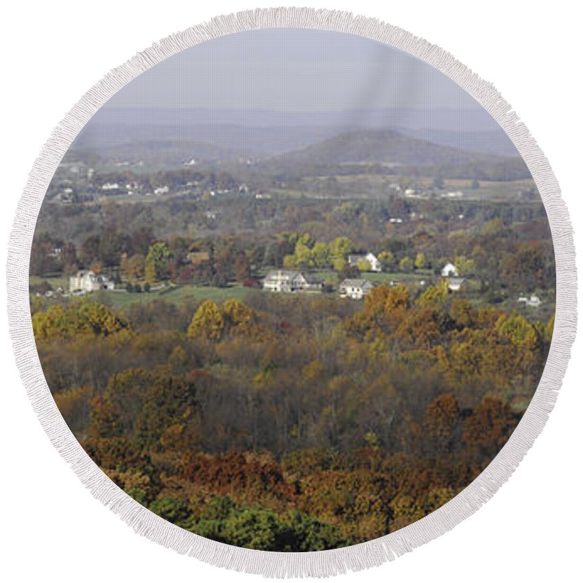 Pano Round Beach Towel featuring the photograph Misty Fall Pano Of The Shenandoah Valley by Lynn Bauer