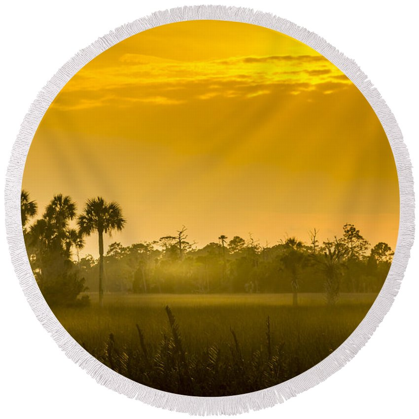 Pine Island Round Beach Towel featuring the photograph Misty Glade by Marvin Spates