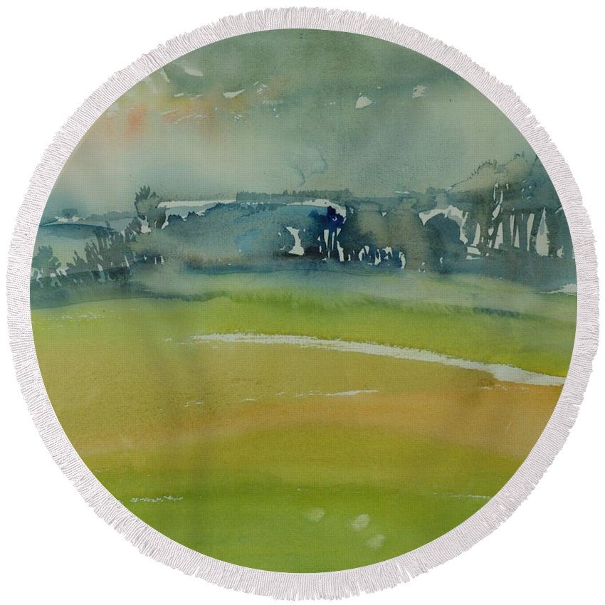 Rural Round Beach Towel featuring the photograph Misty Morning, 1981 Wc On Paper by Brenda Brin Booker