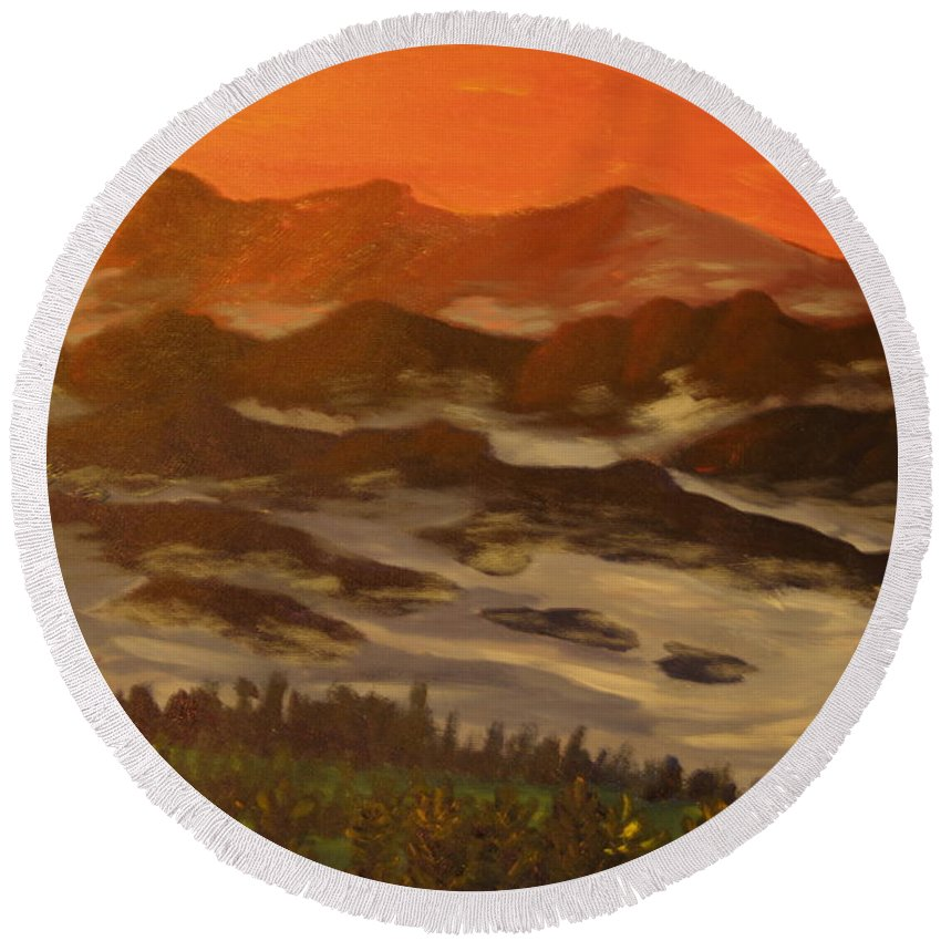 Landscape Round Beach Towel featuring the painting Misty Mountain Morning by David Rodden